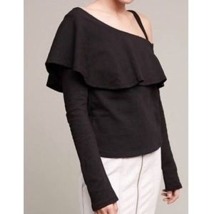 Anthropologie Postmark Black One Shoulder Top